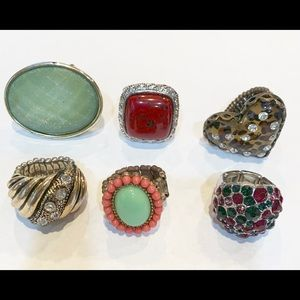 Bundle lot 6 stretchy statement rings